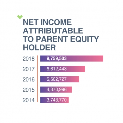 NET INCOME ATTRIBUTABLE TO PARENT EQUITY HOLDER